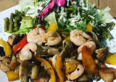 LOW CARB Salat mit Curry Shrimps
